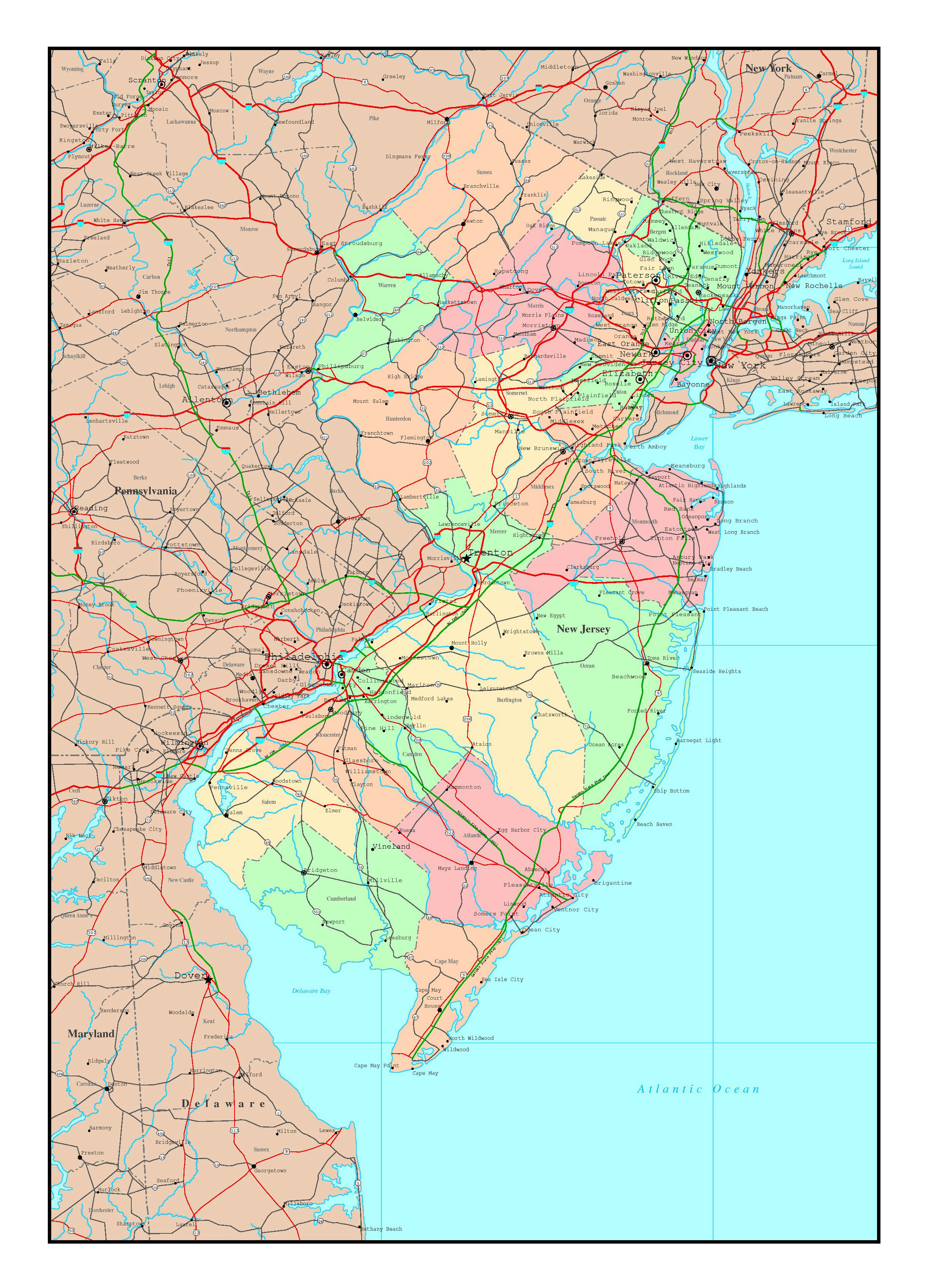 New Jersey On Map Of Usa.Large Detailed Administrative Map Of New Jersey State With Roads
