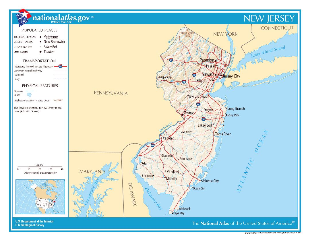 Large detailed map of New Jersey state