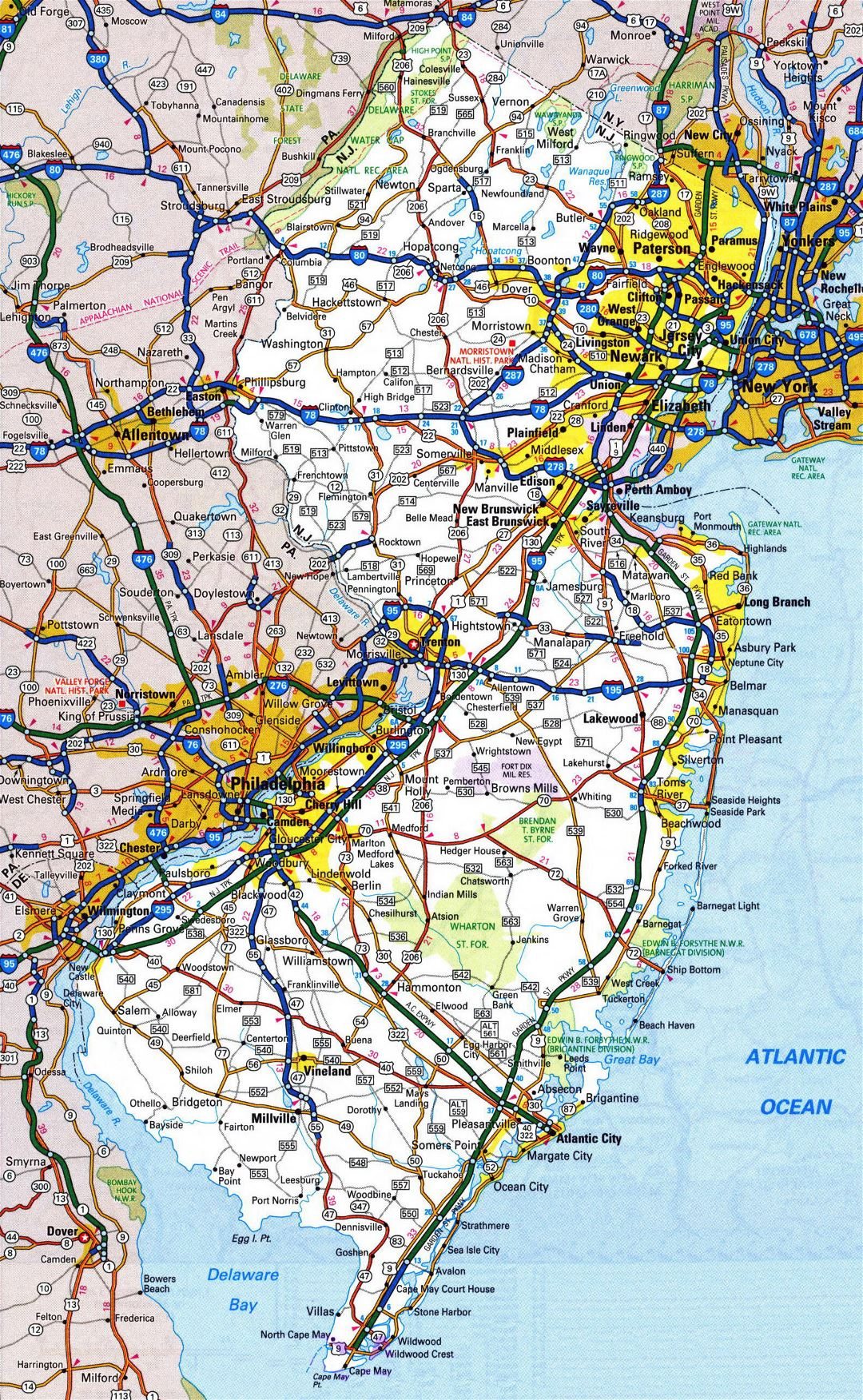 Large detailed roads and highways map of New Jersey state with all cities and national parks