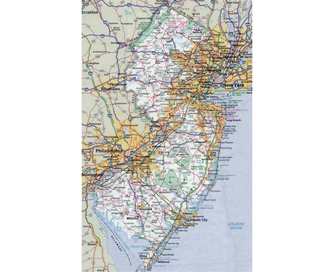 Large detailed roads and highways map of New Jersey state with all cities