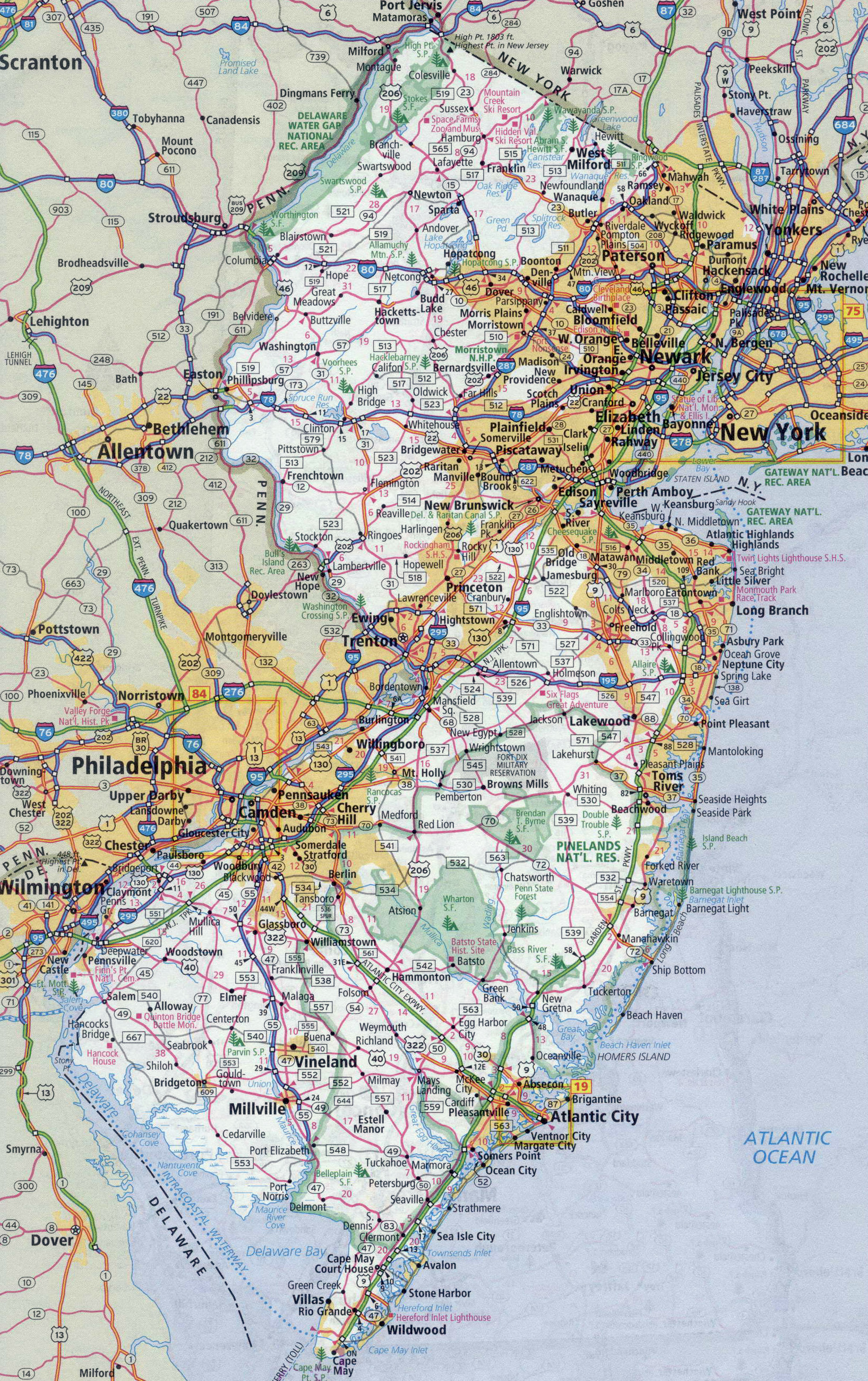 Large detailed roads and highways map of New Jersey state with all