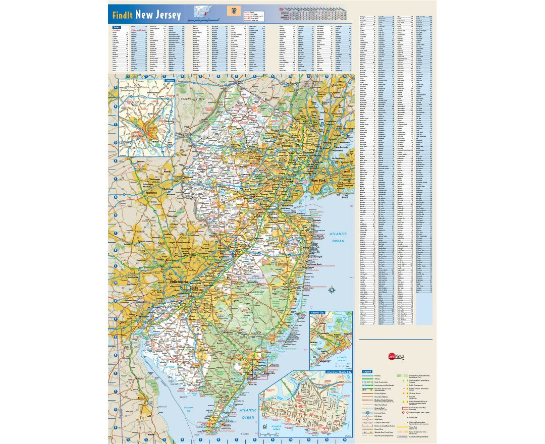 Large detailed roads and highways map of New Jersey state with national parks, all cities, towns and villages
