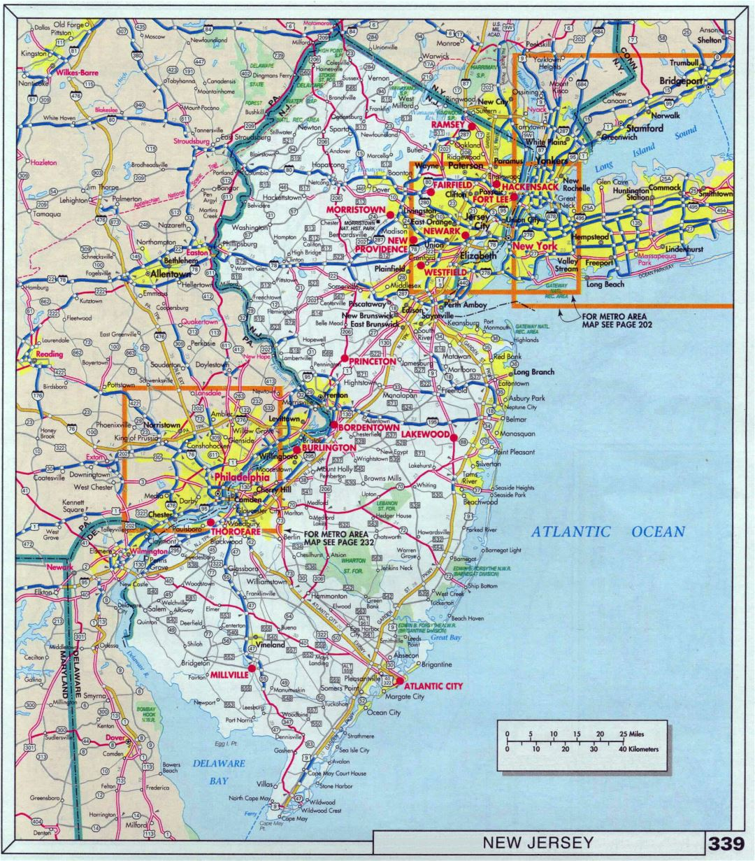 Large detailed roads and highways map of New Jersey state with national parks and cities