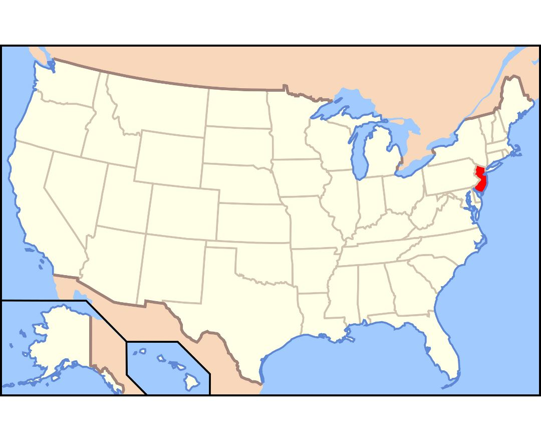 Large location map of New Jersey state