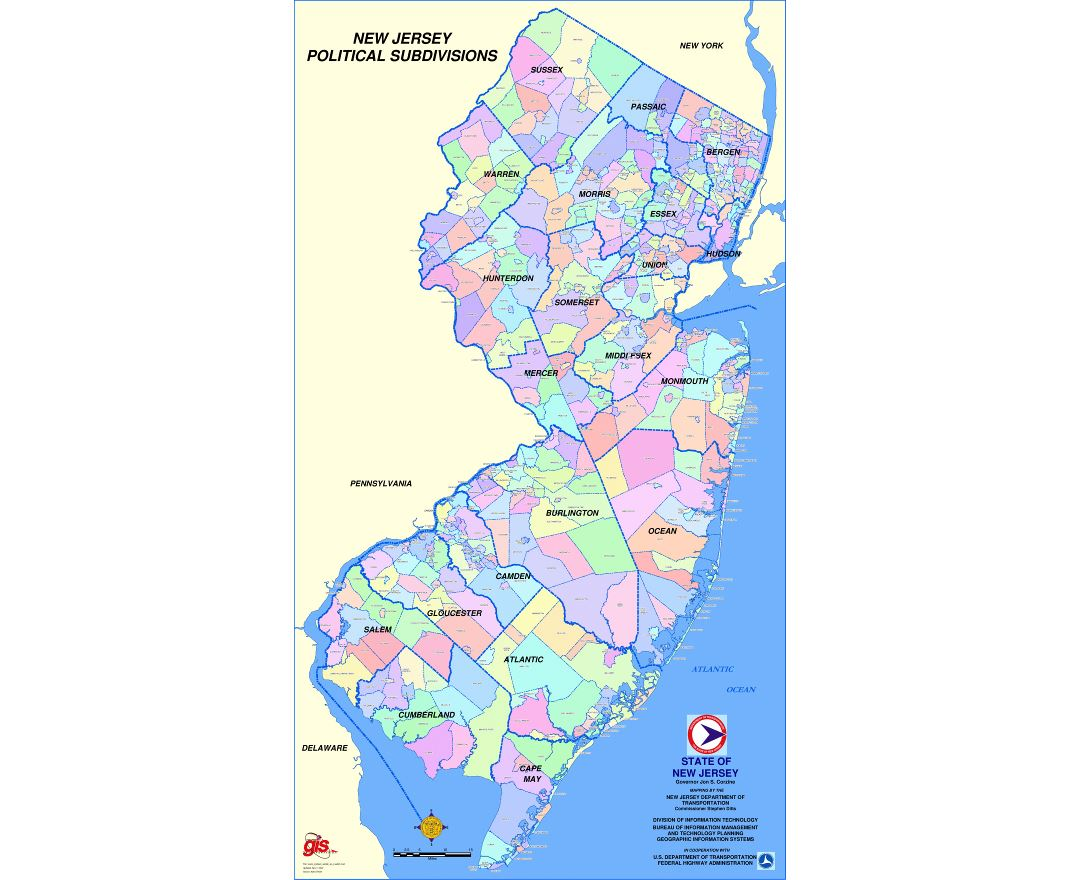 Large map of New Jersey state political subdivisions
