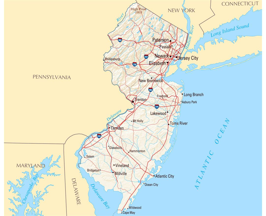 Large map of New Jersey state with roads, highways, relief and major cities