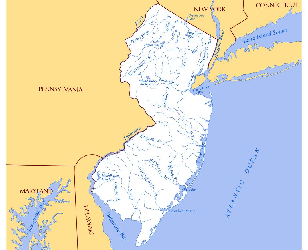 Large rivers and lakes map of New Jersey state