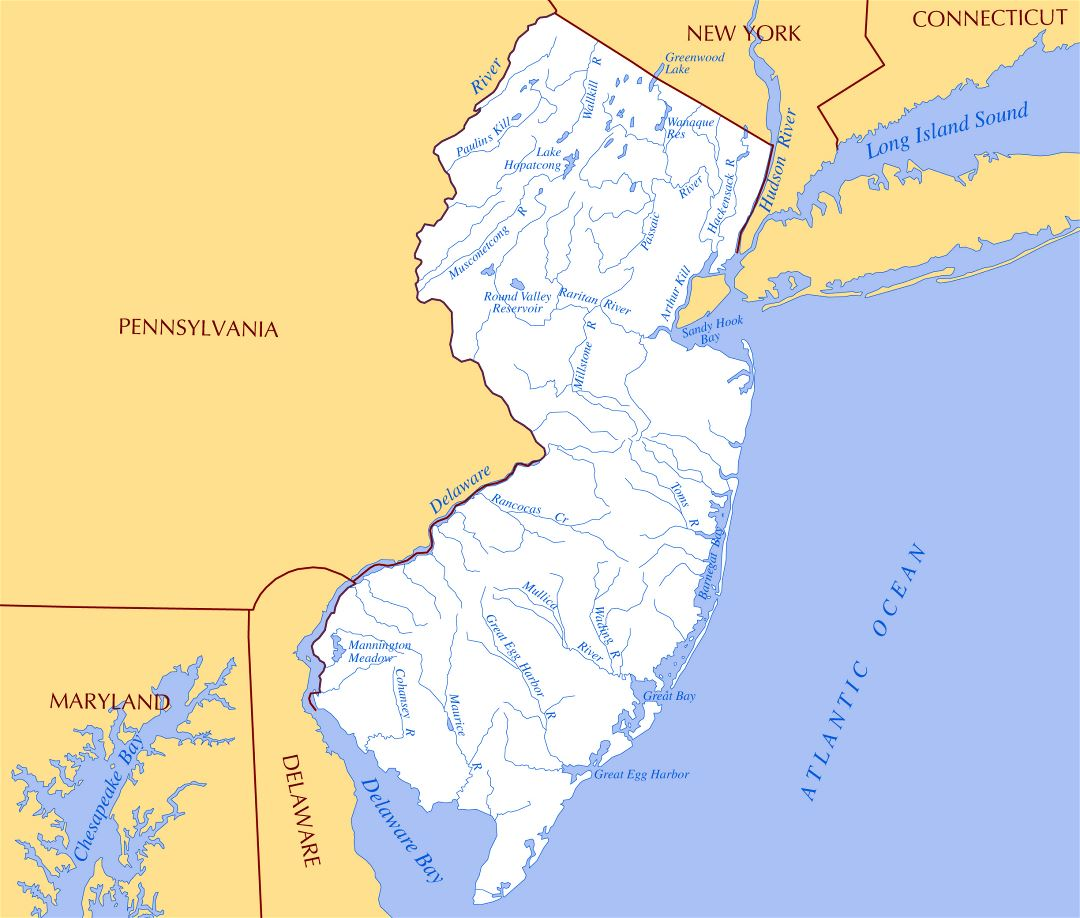 Large Rivers And Lakes Map Of New Jersey State New Jersey State - Usa map rivers