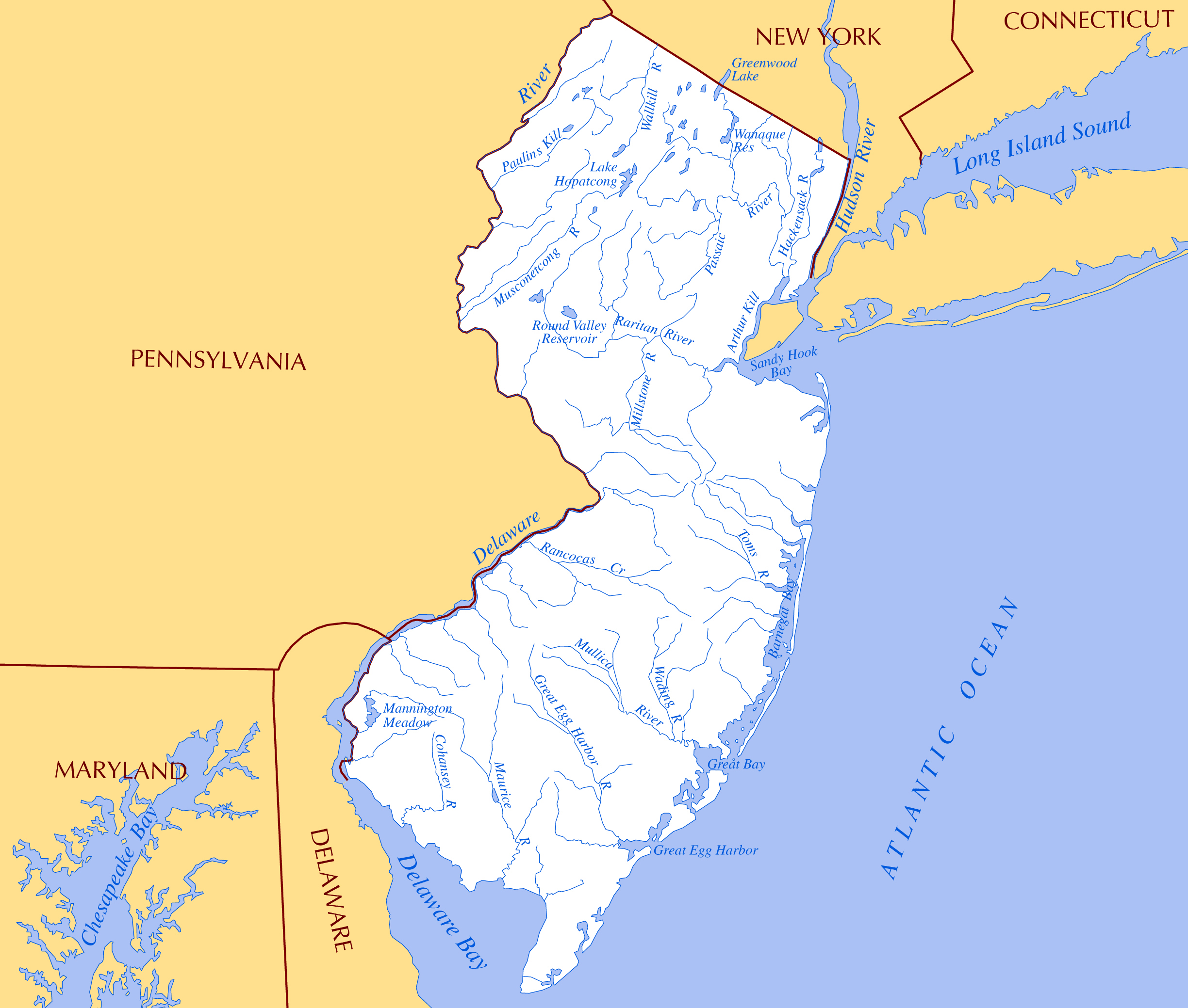 Large rivers and lakes map of New Jersey state | New Jersey ...