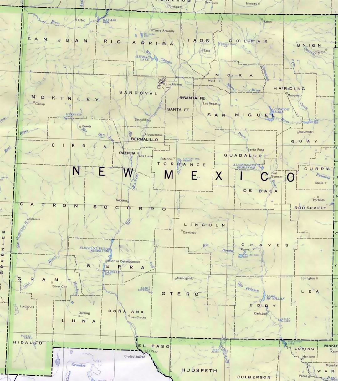 Administrative map of New Mexico state