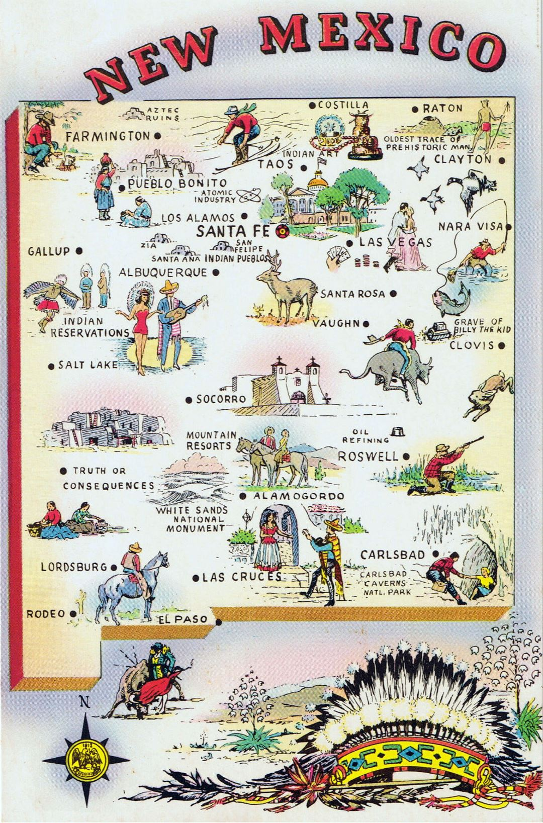 Detailed tourist illustrated map of New Mexico state | New Mexico ...