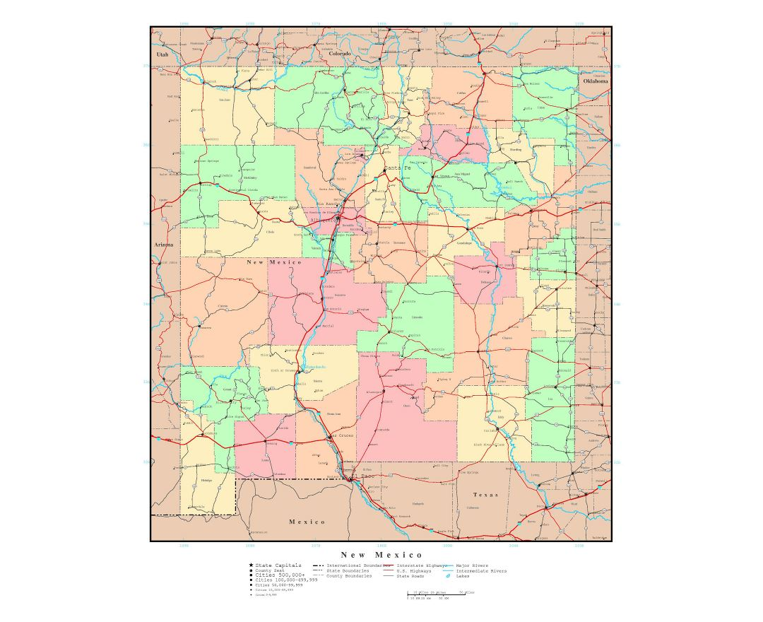 large detailed administrative map of new mexico state with roads highways and major cities