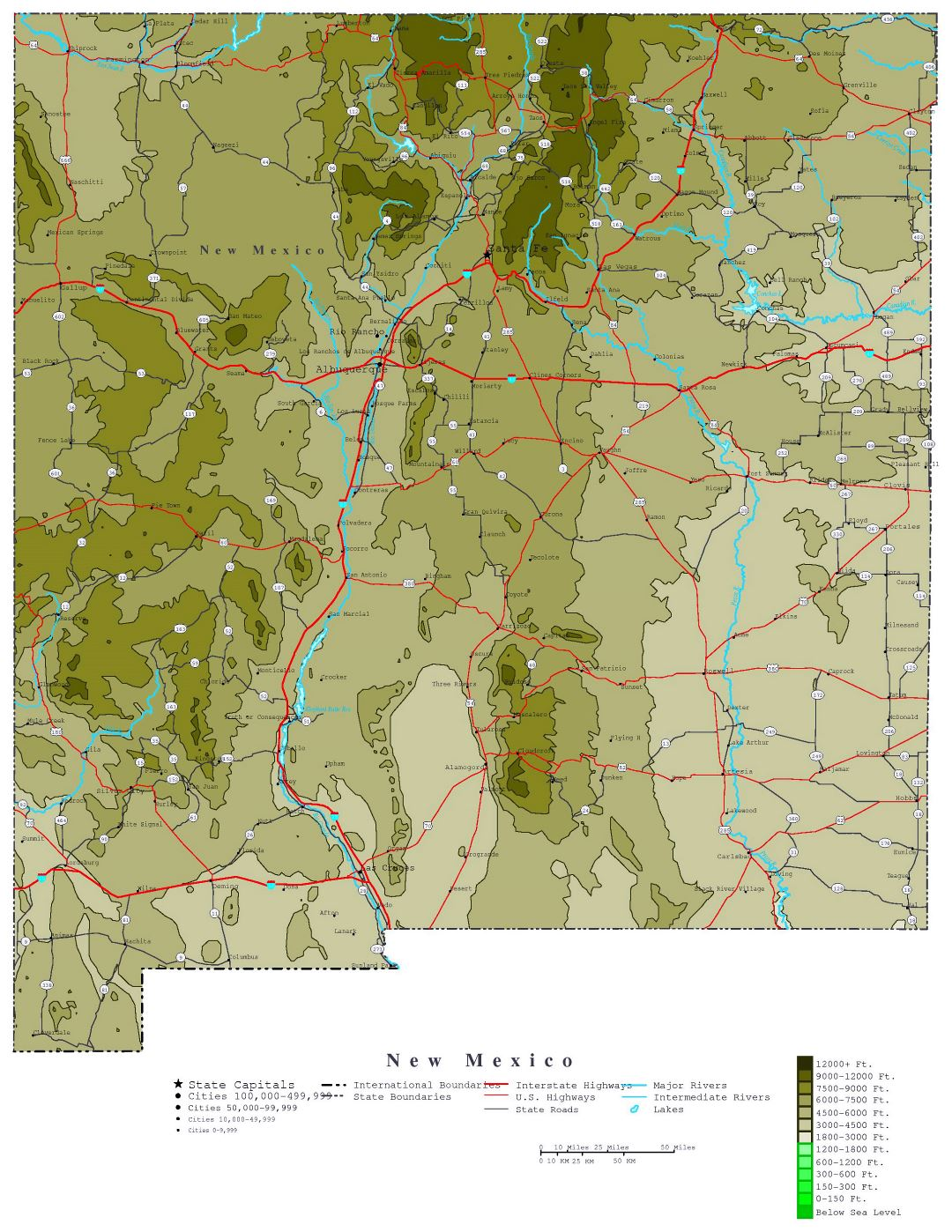 Large detailed elevation map of New Mexico state with roads, highways and cities