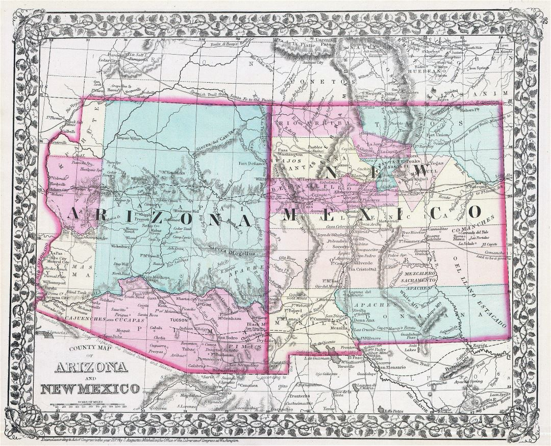 Large detailed old map of Arizona and New Mexico states with other marks - 1877