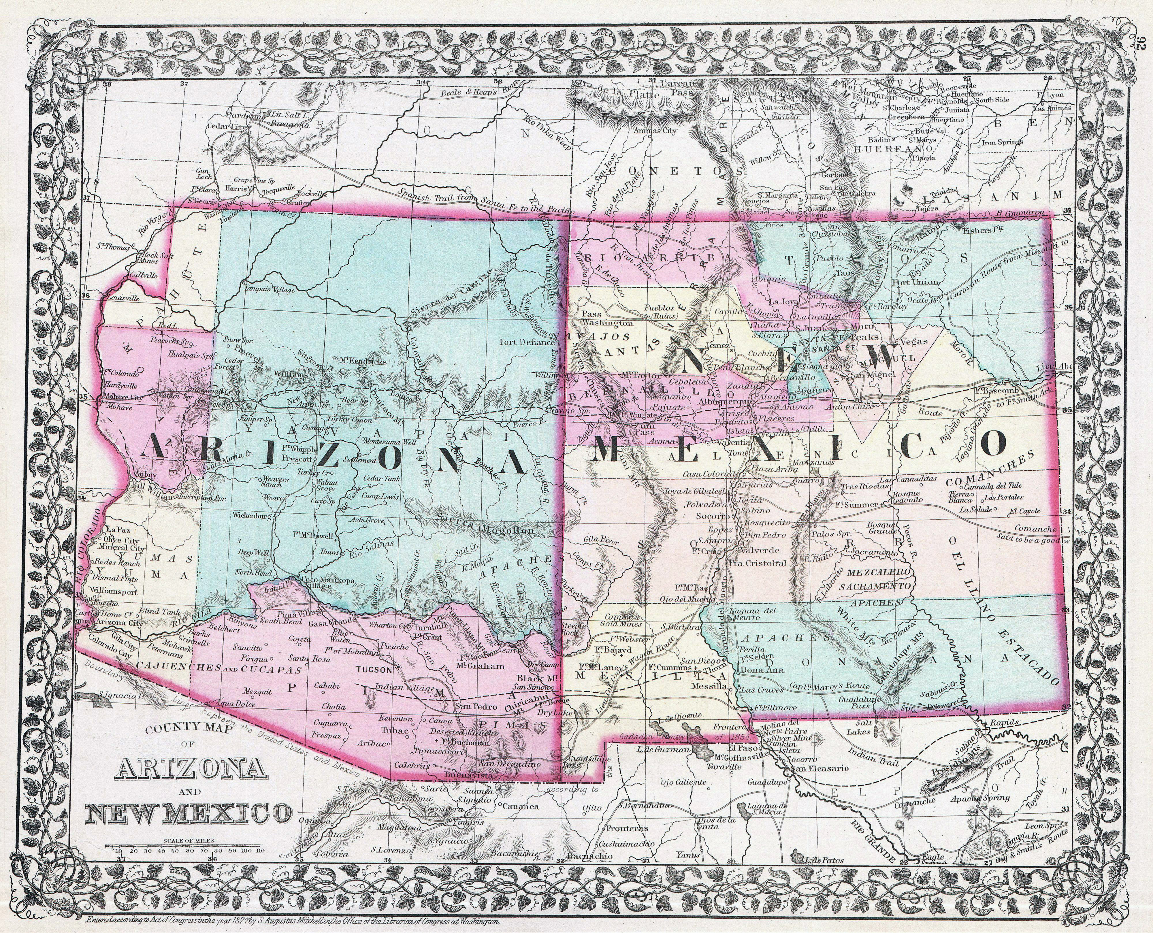 Large detailed old map of Arizona and New Mexico states with ...