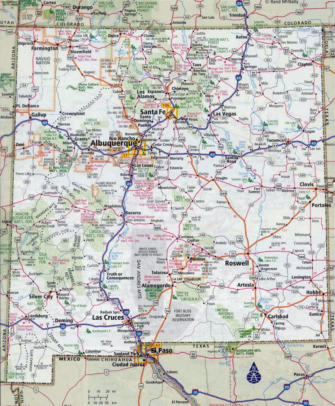 Large detailed roads and highways map of New Mexico state with all cities