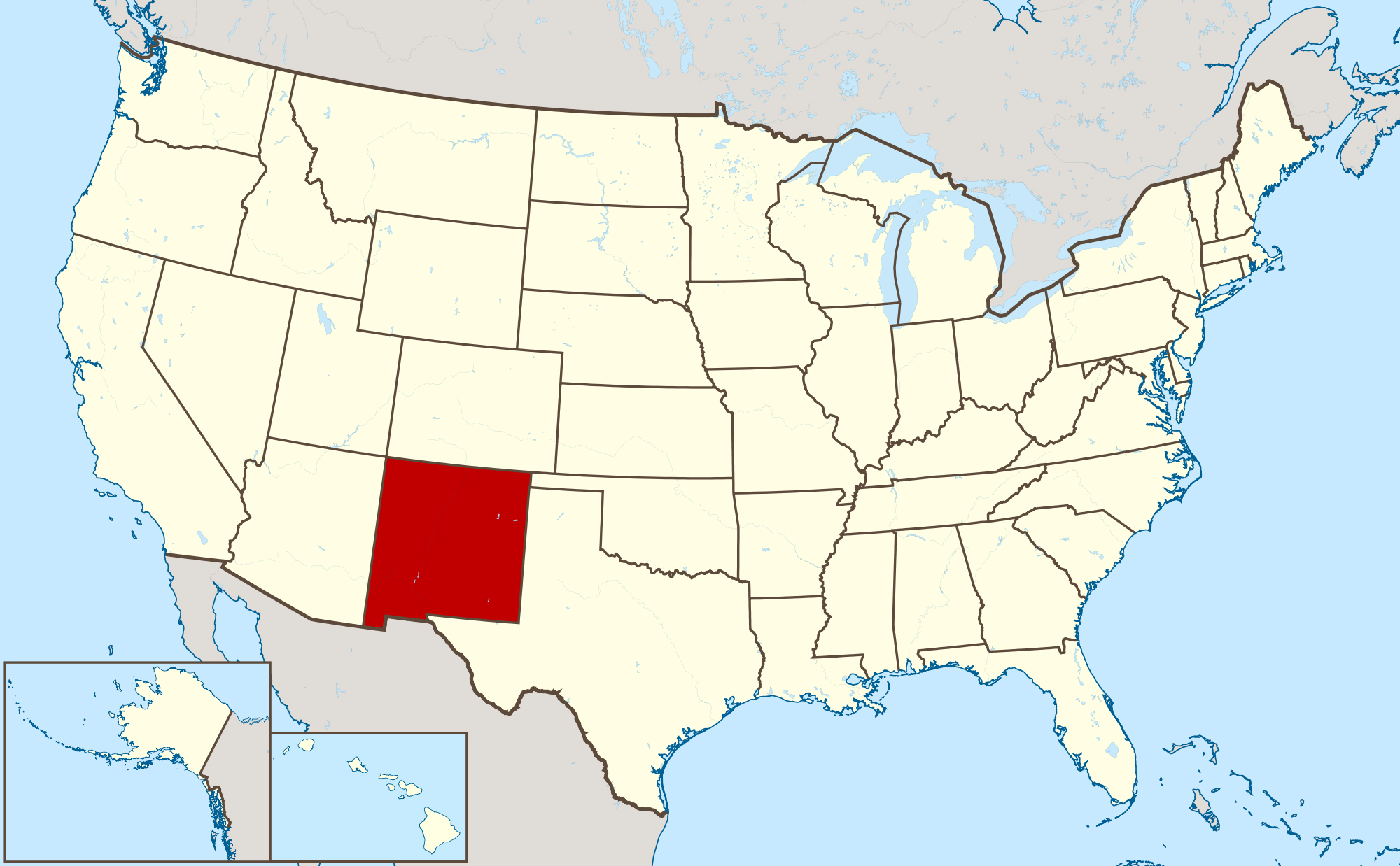 large location map of new mexico state