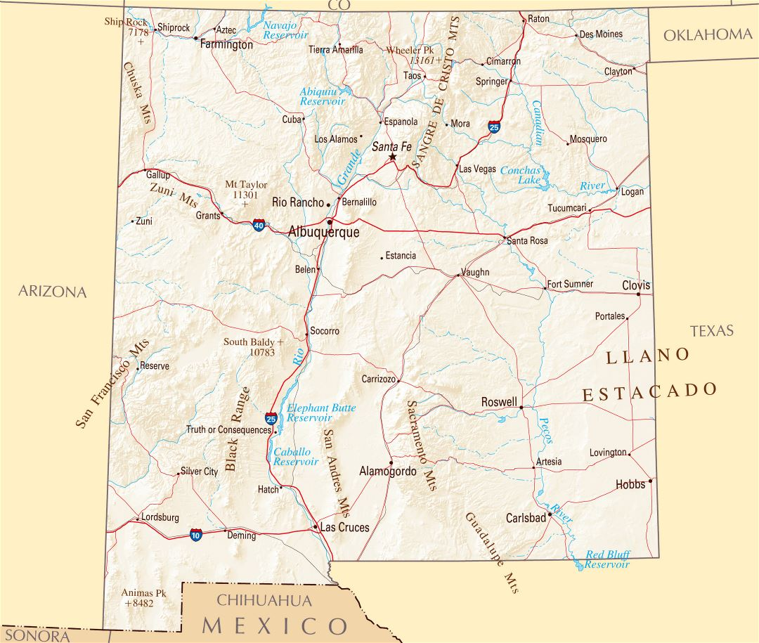 City map Mexico Country Roads Relief