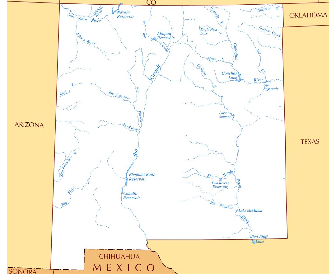 Large Map Of New Mexico Tidal Treasures - Detailed map of new mexico