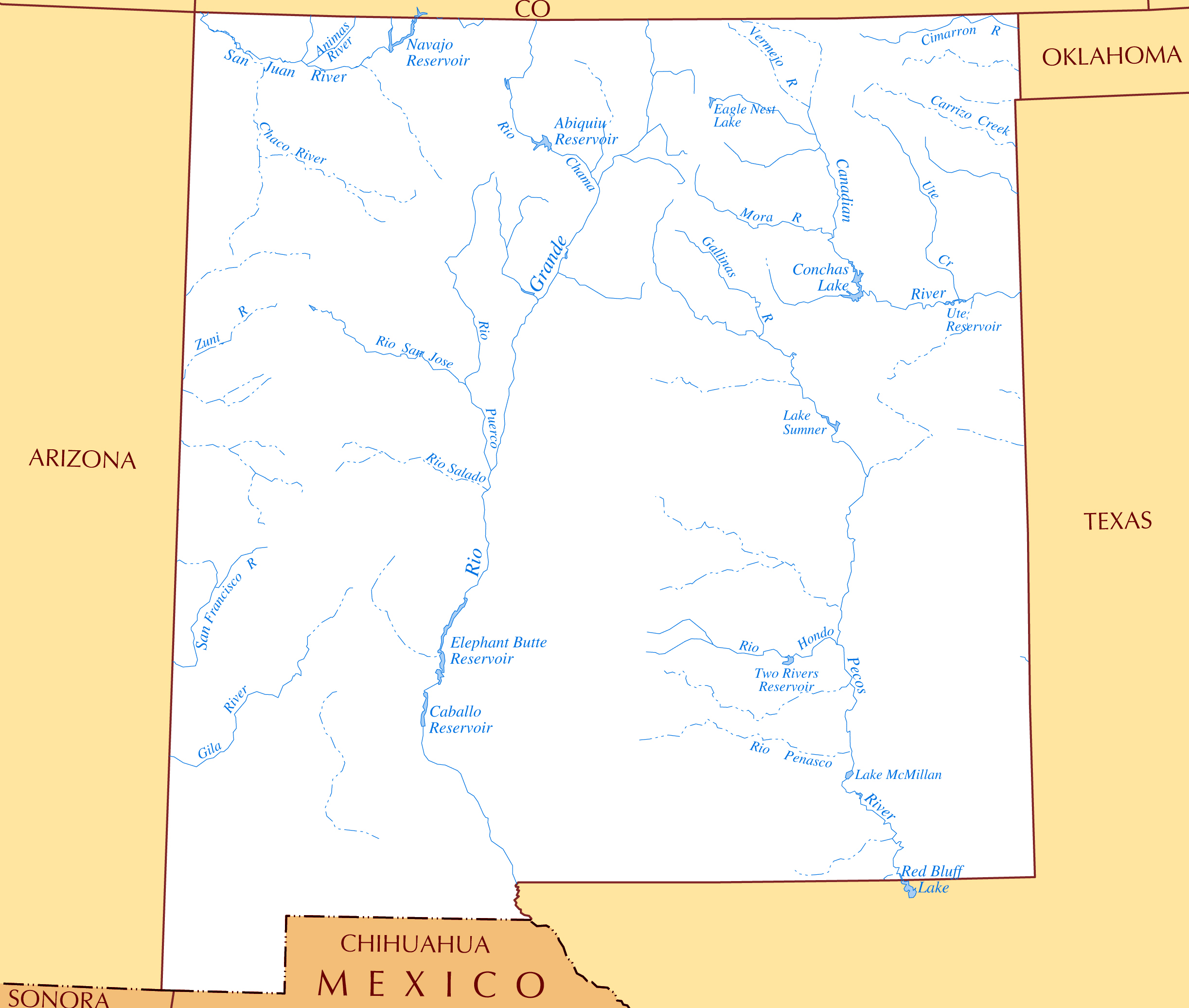 Large rivers and lakes map of New Mexico state | New Mexico ...