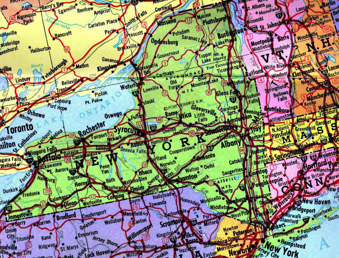 Highways map of New York state