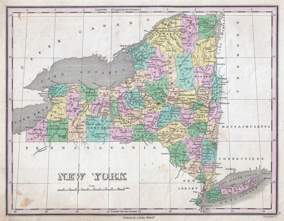 Large detailed old administrative map of New York state - 1827