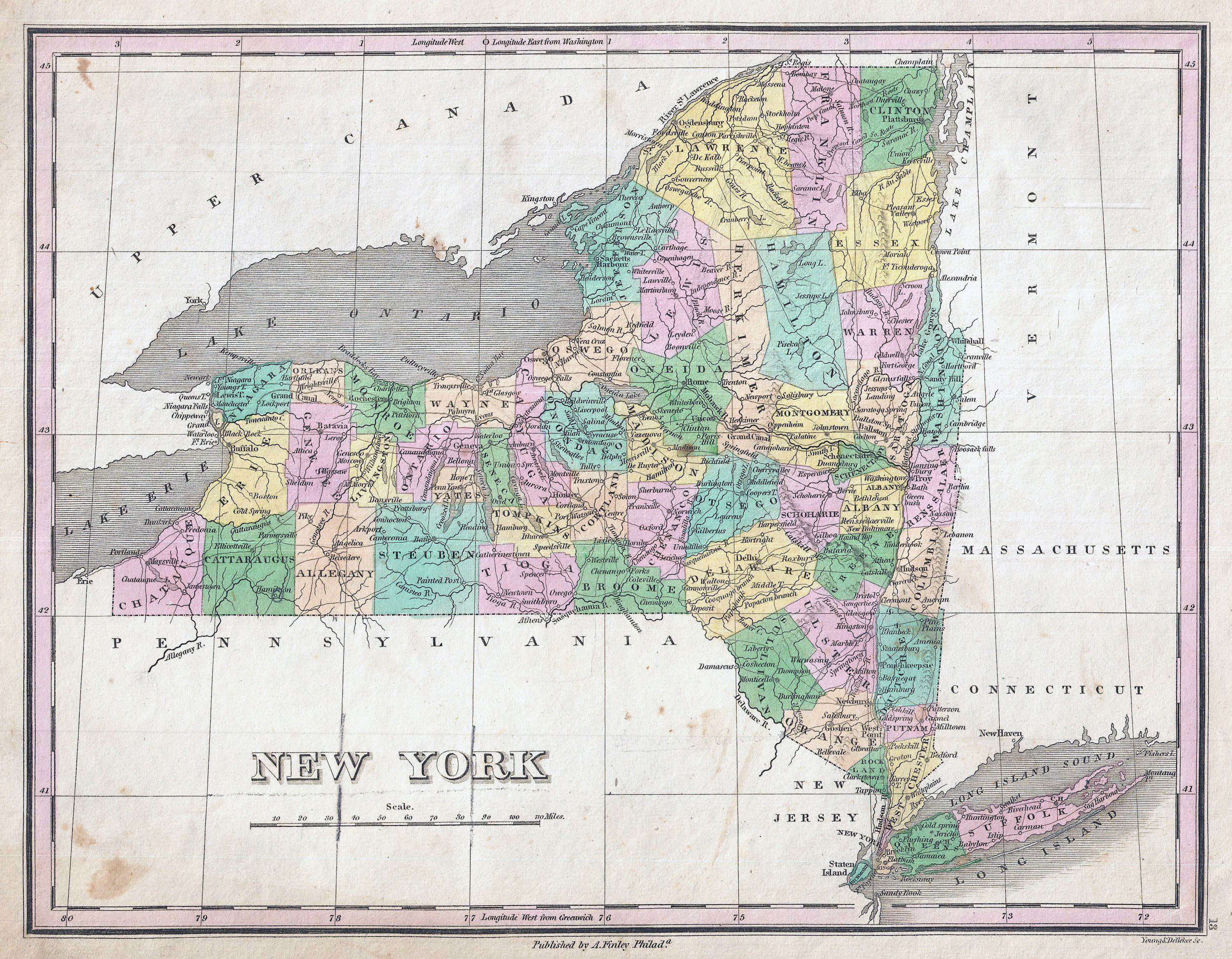 Large detailed old administrative map of New York state 1827 New
