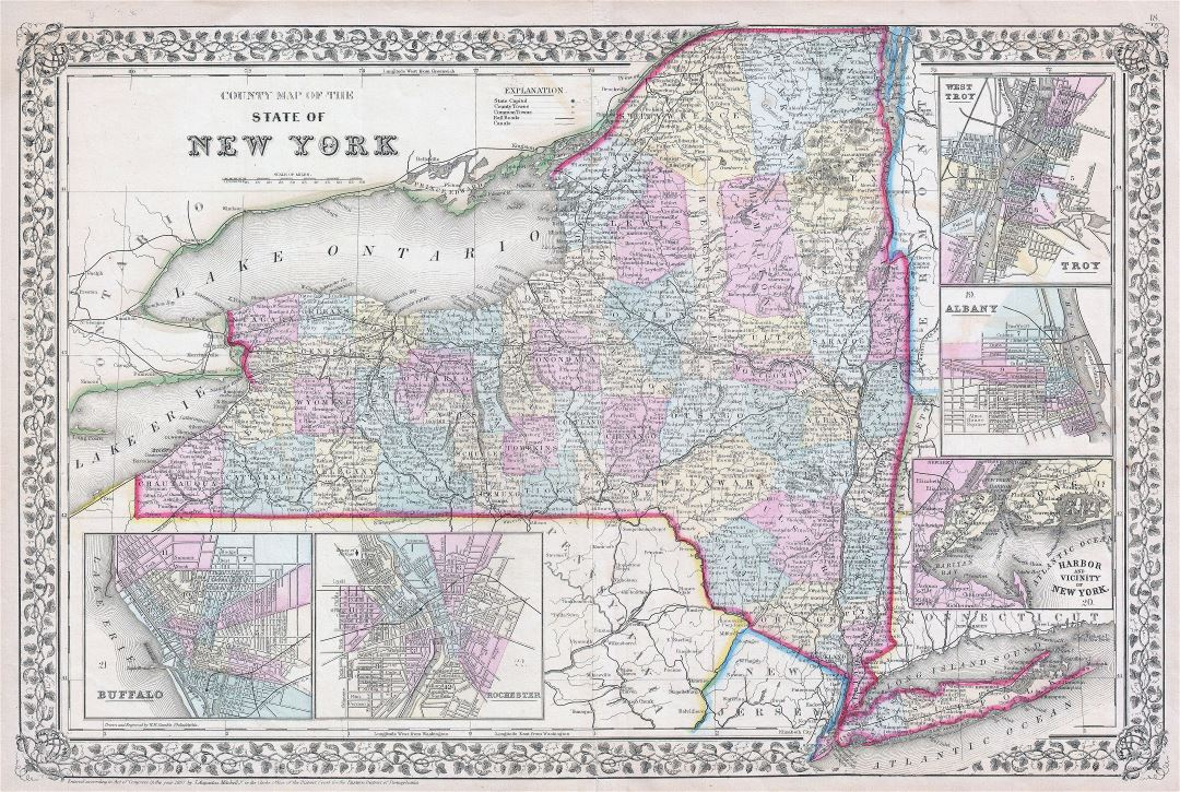 Large detailed old administrative map of New York state with towns, cities and railroads - 1867