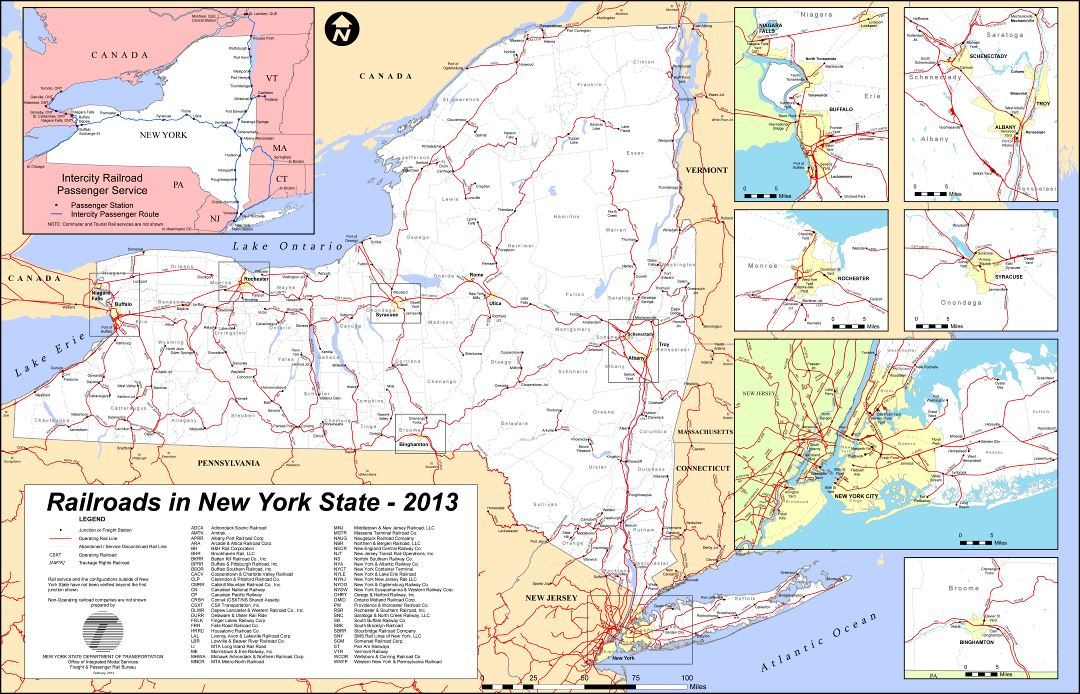 Large detailed railroads map of New York state - 2013
