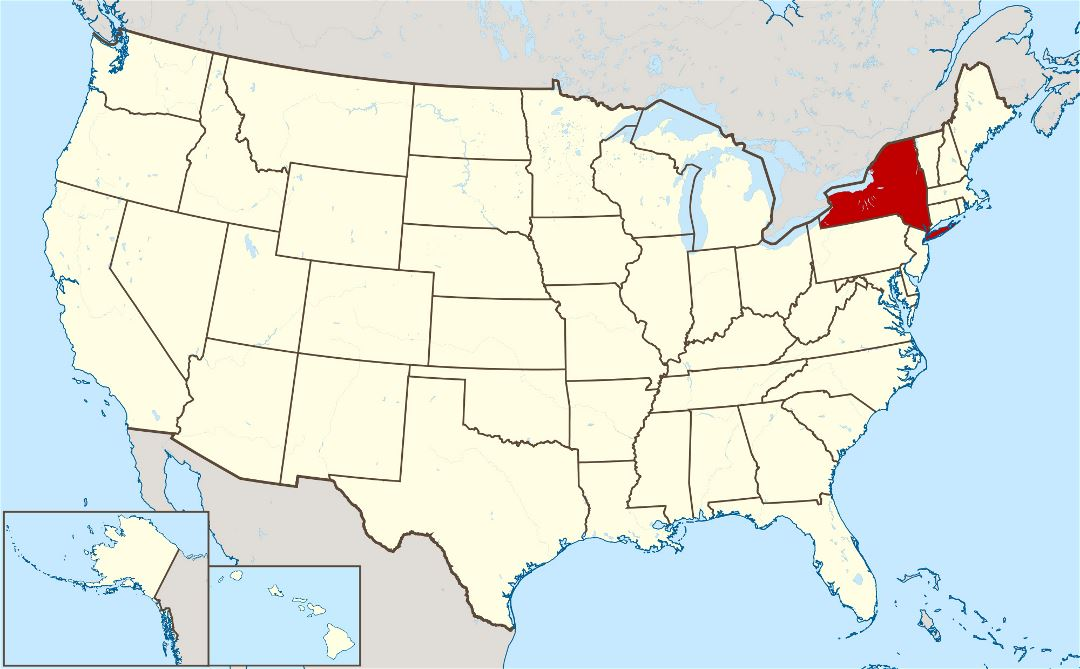Large location map of New York state