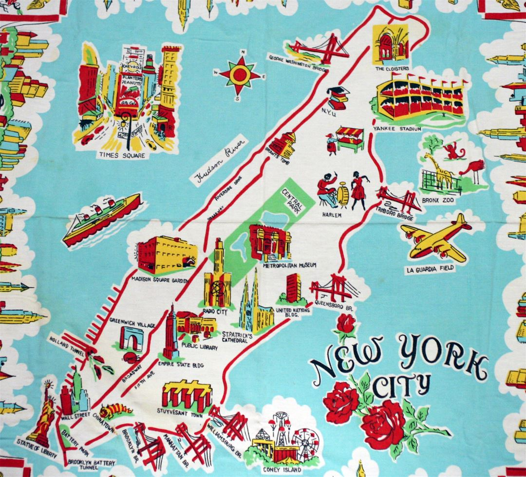 Detailed illustrated tourist map of New York city