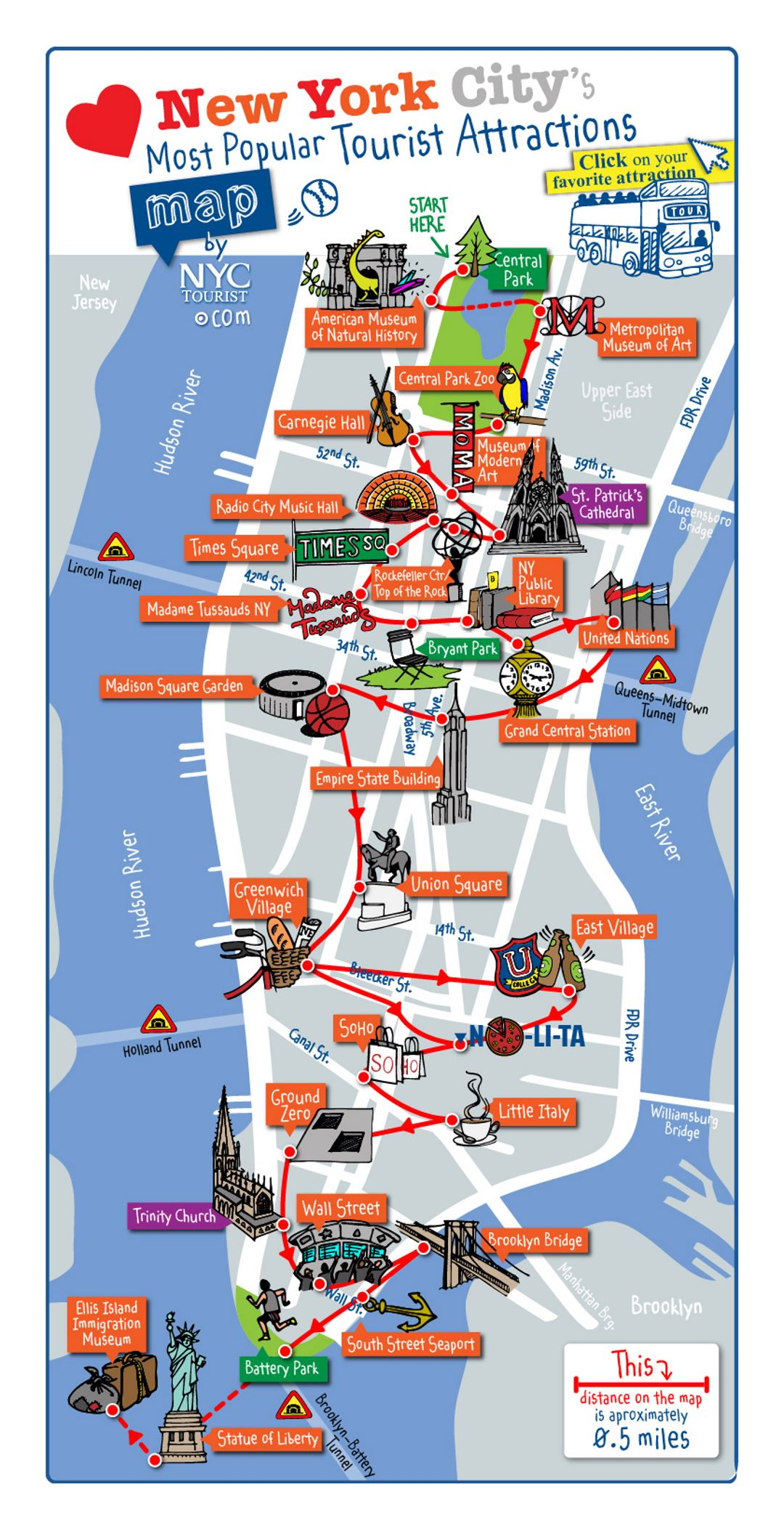 Detailed Map Of Most Popular Tourist Attractions Of Manhattan NYC New York