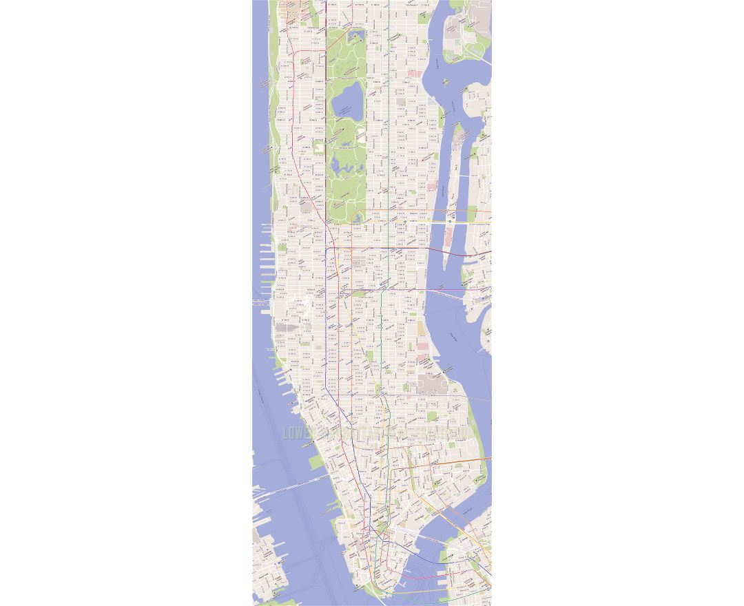 detailed road map of manhattan nyc