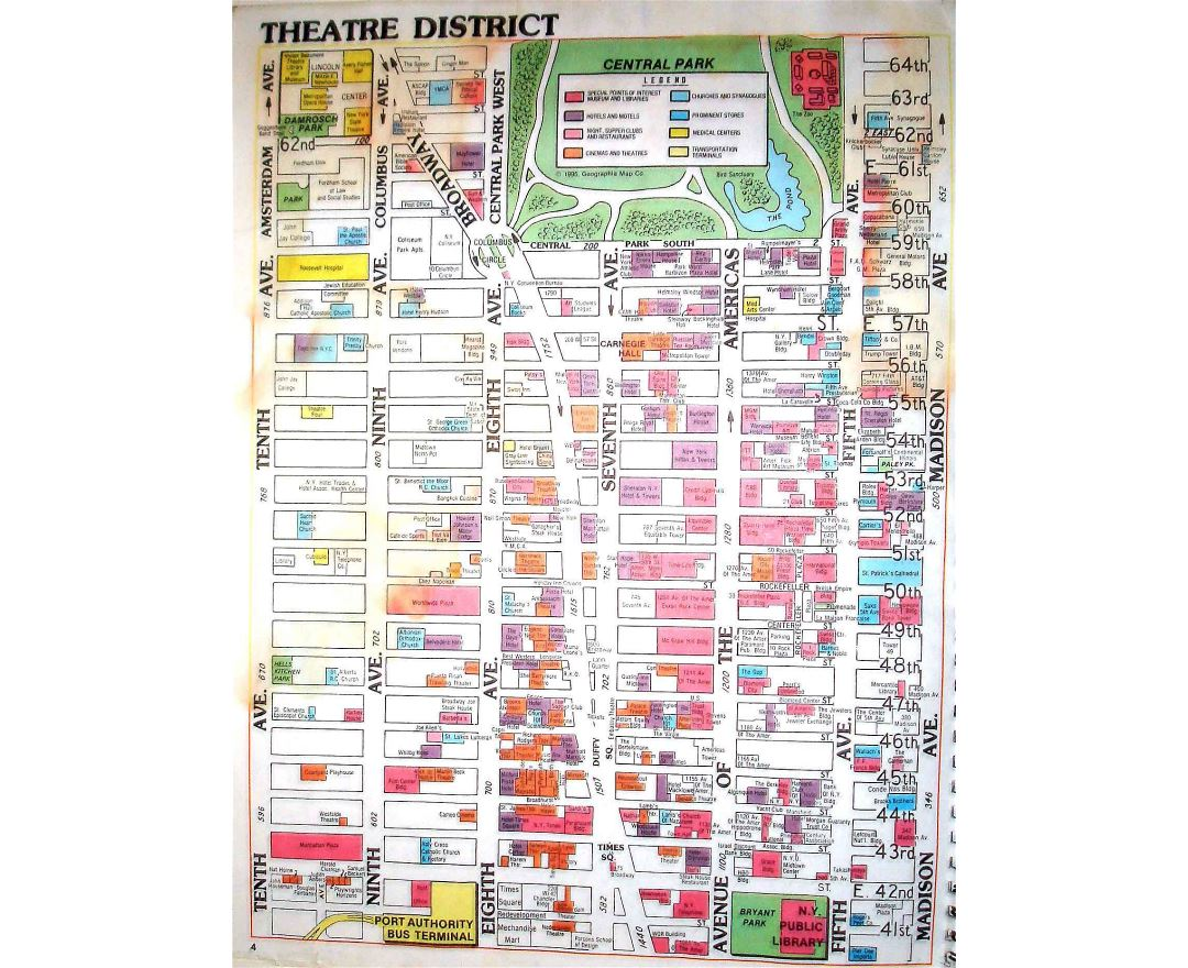 detailed theatre district map of manhattan