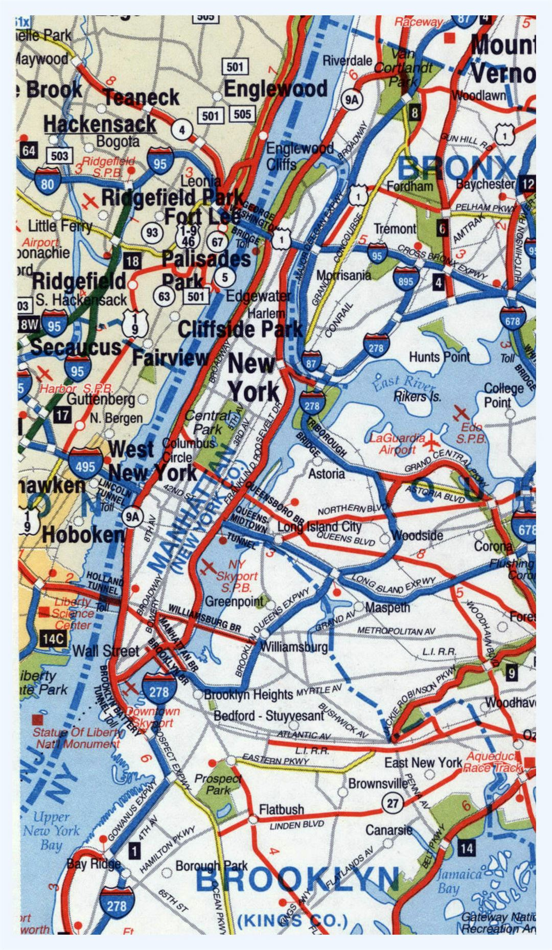 Highways map of Manhattan and surrounding area
