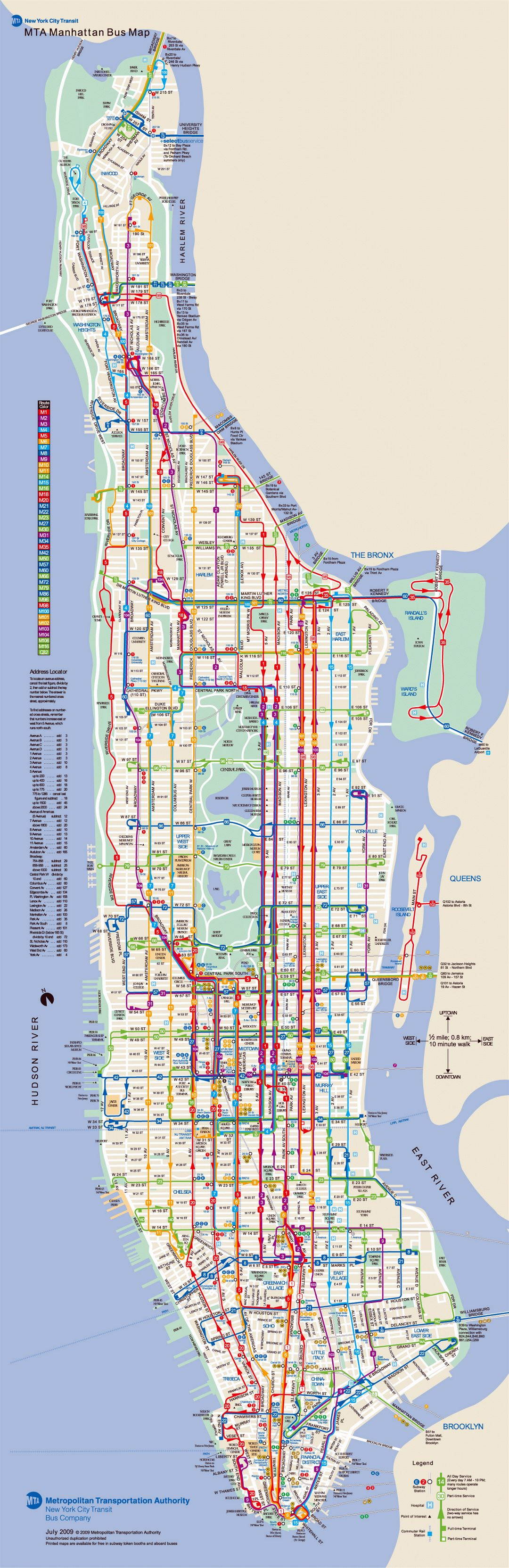 Large detailed bus routes map of Manhattan, NY