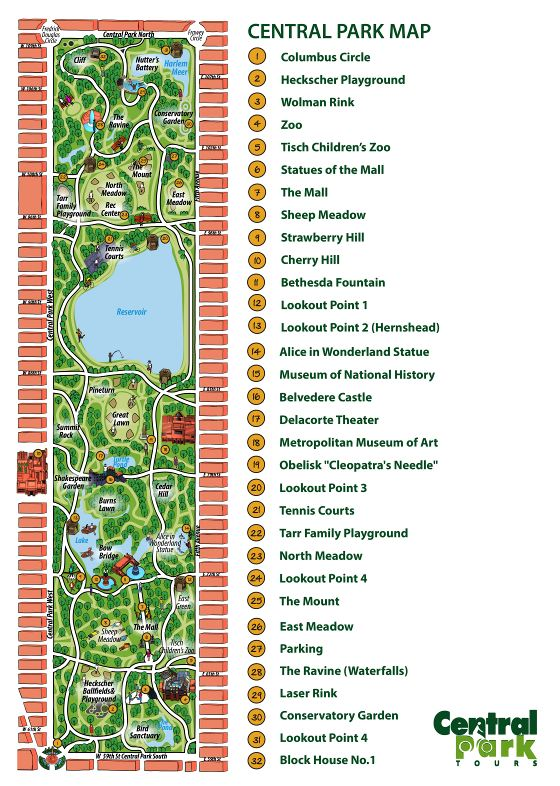 Large detailed map of attractions in Central Park, New York city