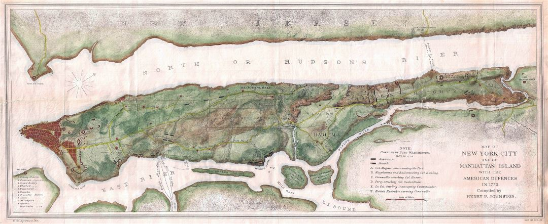 Large detailed old map of New York city and of Manhattan Island with the American Defences in 1776