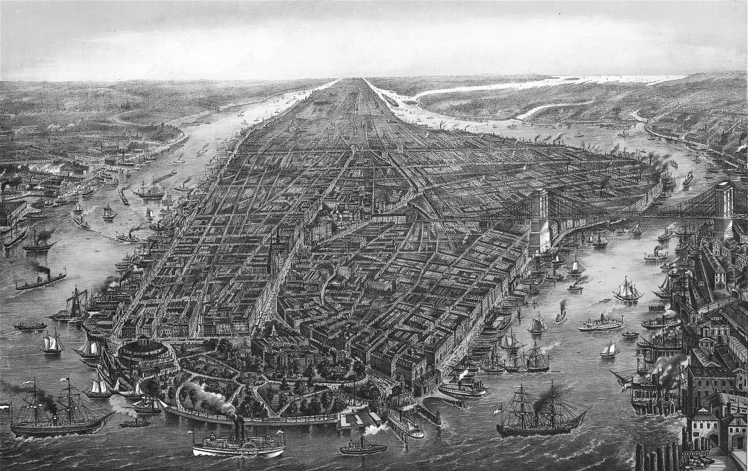 Large detailed old panoramic map of Manhattan, New York city - 1873