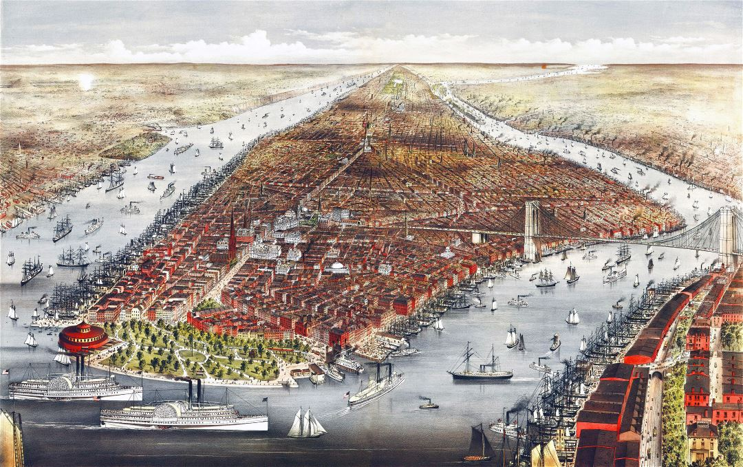 Large detailed old panoramic map of Manhattan, New York city - 1876