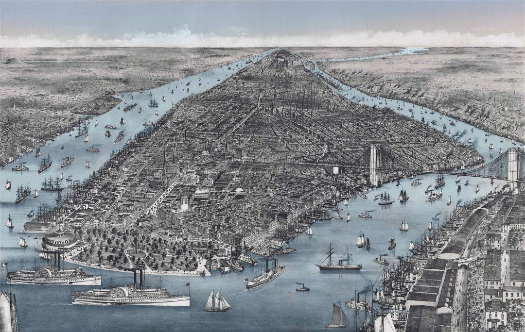 Large detailed old panoramic map of Manhattan, New York city - 1886