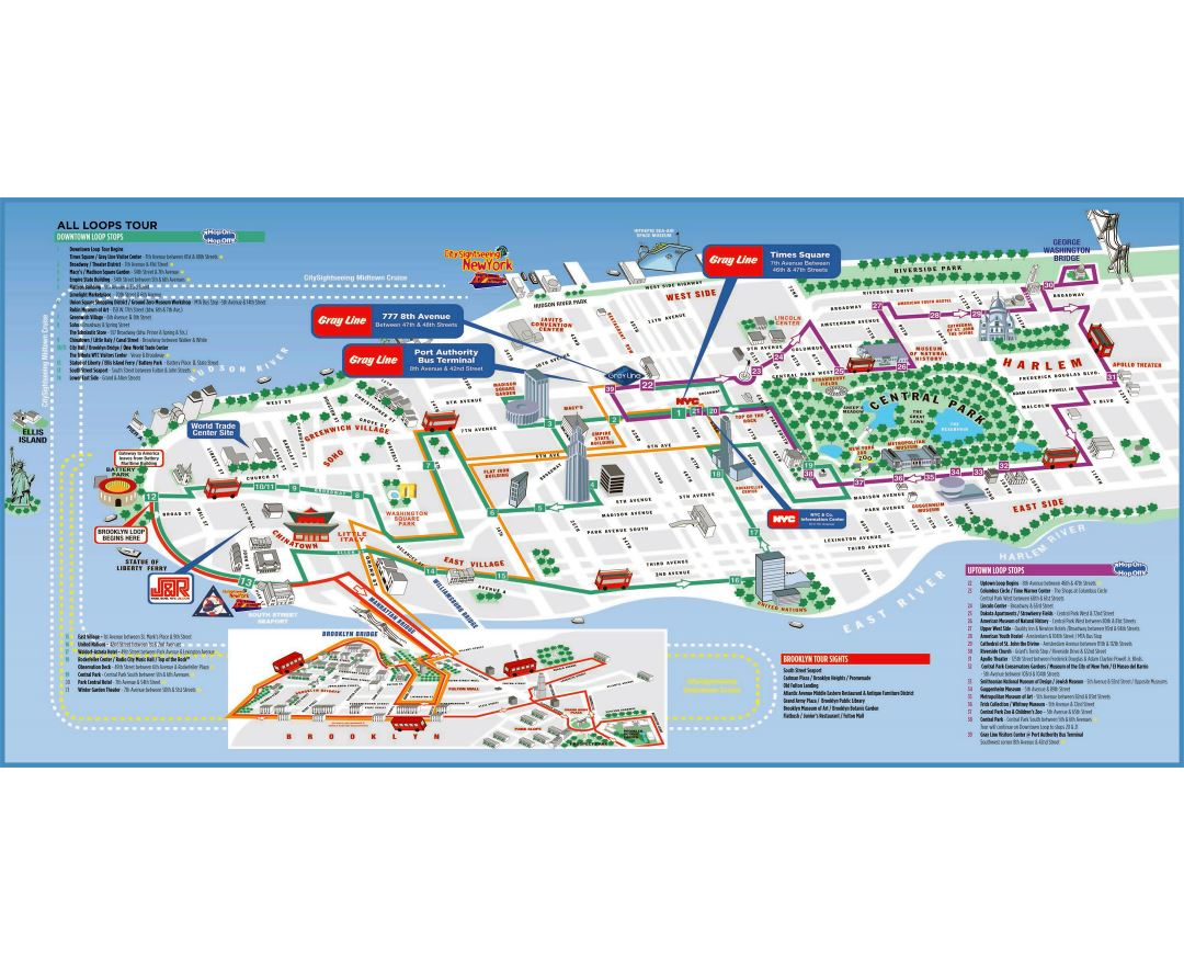 large detailed printable tourist attractions map of manhattan new york city