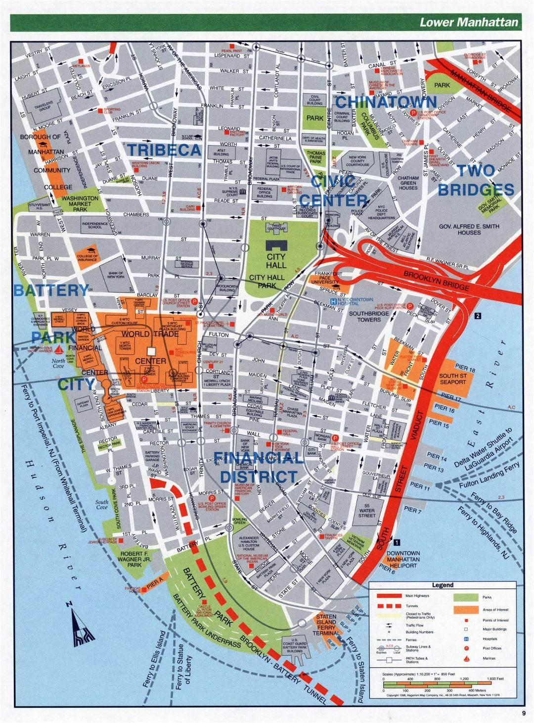 Large detailed road map of Lower Manhattan, NYC