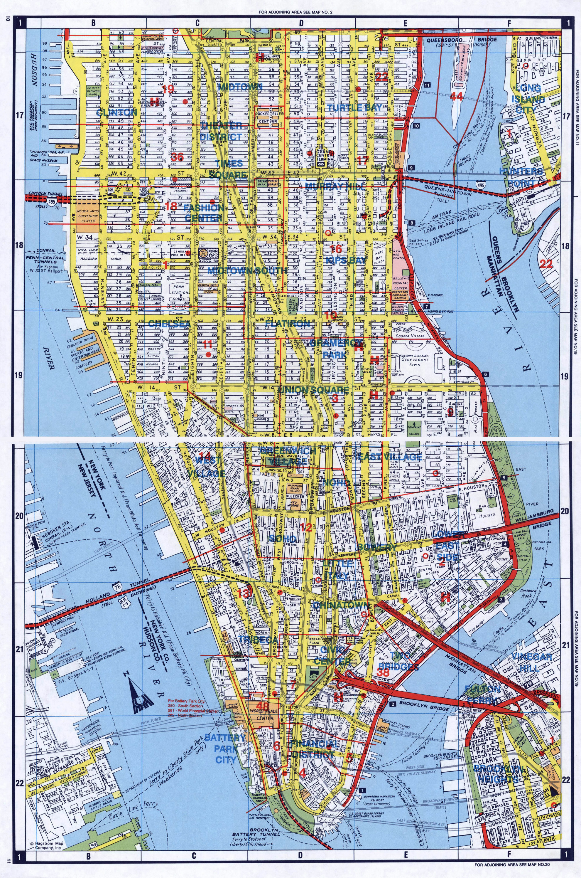 Large detailed road map of South Manhattan NYC New York New
