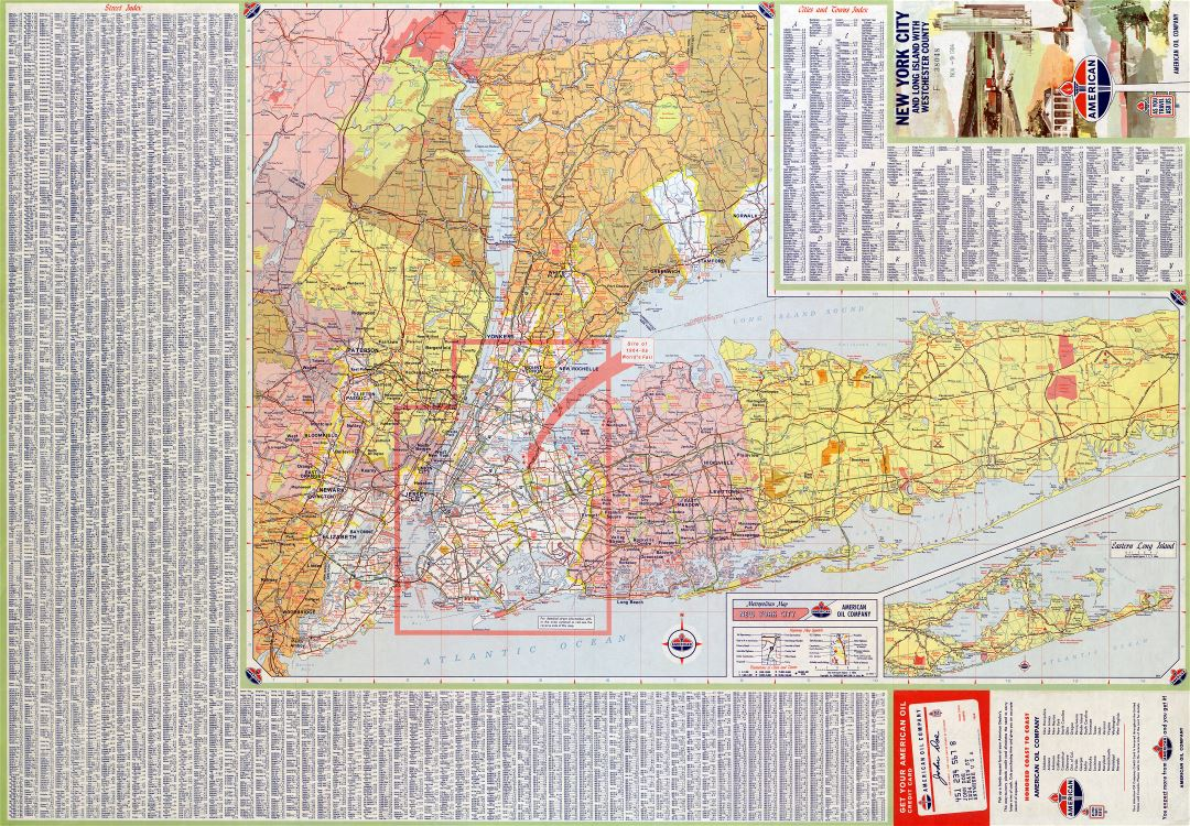 Large detailed roads and highways map of New York city (USA) and surrounding area