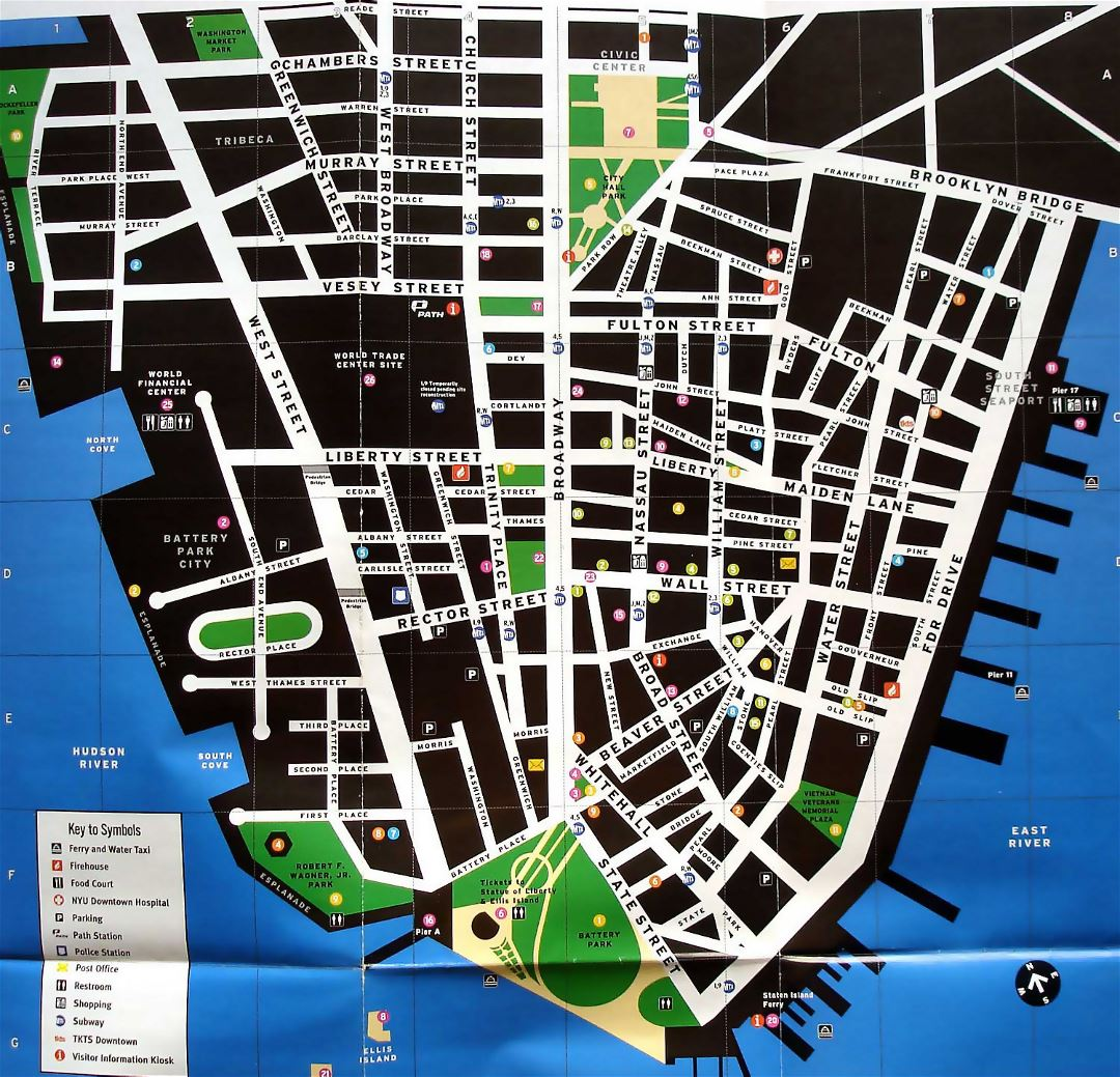 Large detailed tourist map of Lower Manhattan