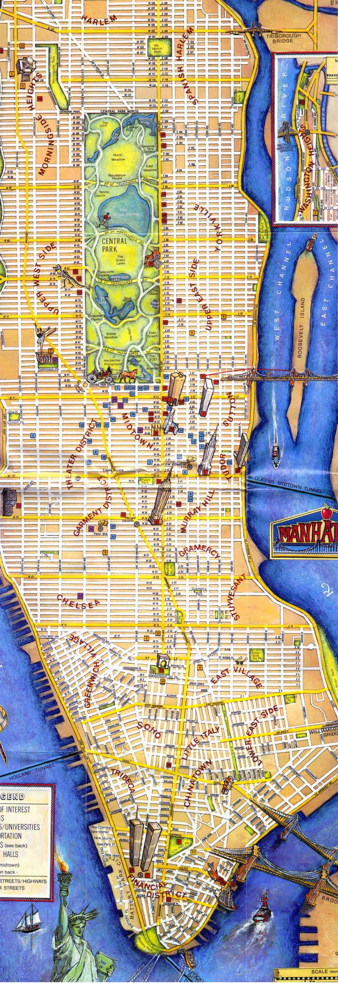 Large detailed tourist map of Manhattan