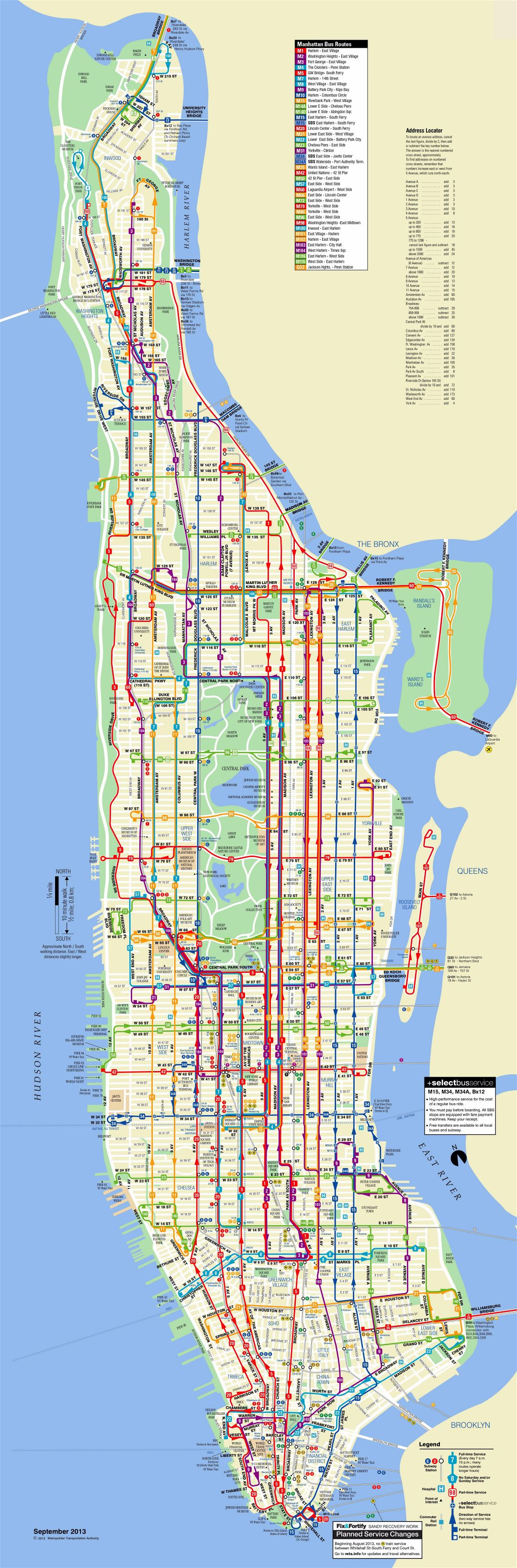 Large scale detailed bus routes map of Manhattan, NYC