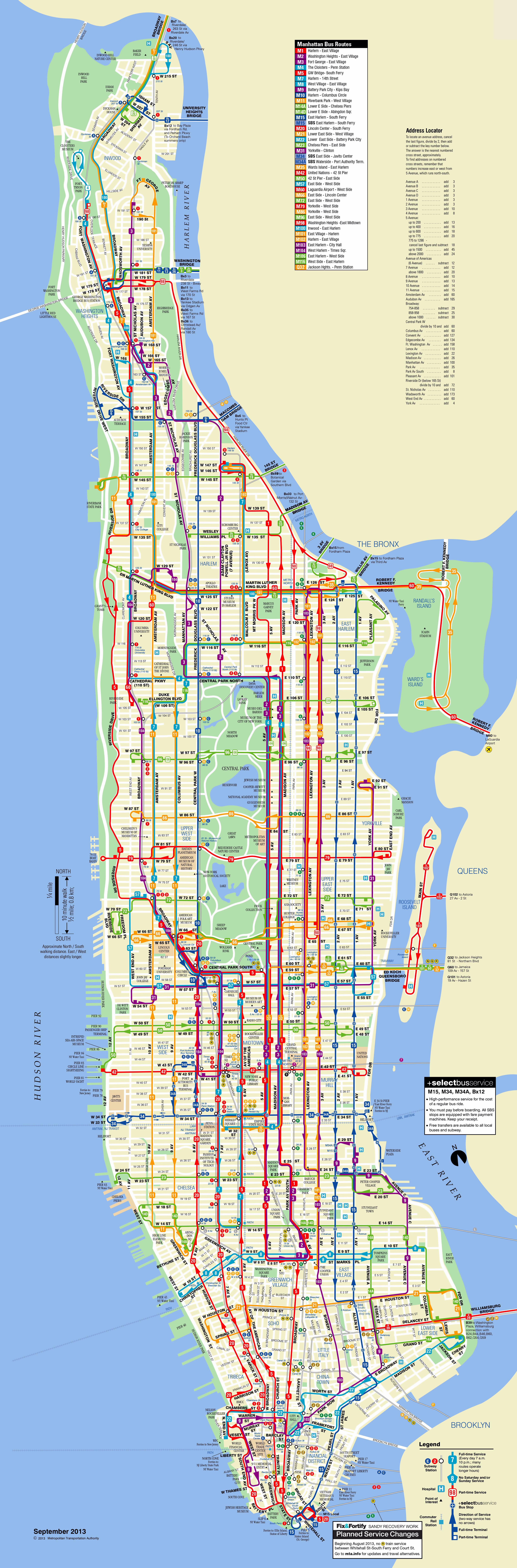 Large scale detailed bus routes map of Manhattan NYC  New York