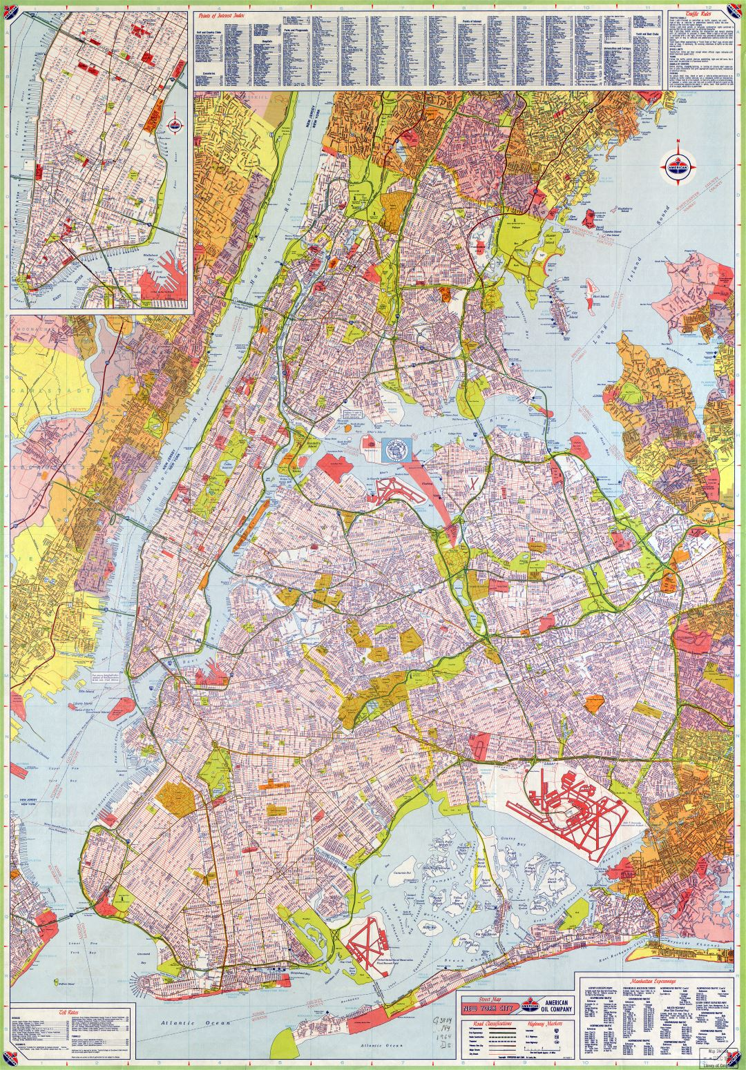 Large scale HiRes detailed full road map of New York city (USA) with all street names